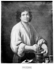 M0001669 An apothecary (a man using pestle and mortar). Oil painting