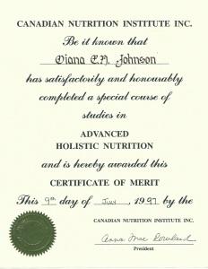 Holistic Nutrition Cert